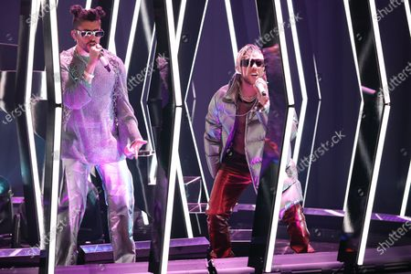Stock Image of Bad Bunny left, and Jhay Cortez perform in a pre taped segment for the 63rd Grammy Awards at the LA Convention Center.
