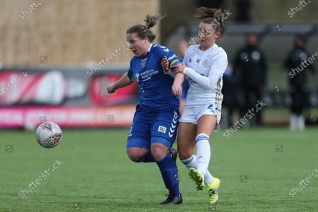 Sarah Wilson of Durham Women battles with Shannon O'BRIEN of Leicester City    during the FA Women's Championship match between Durham Women FC and Leicester City at Maiden Castle, Durham City, England on 14th March 2021.