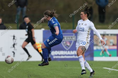 Sarah Wilson of Durham Women \and Leicester City's Natasha FLINT during the FA Women's Championship match between Durham Women FC and Leicester City at Maiden Castle, Durham City, England on 14th March 2021.
