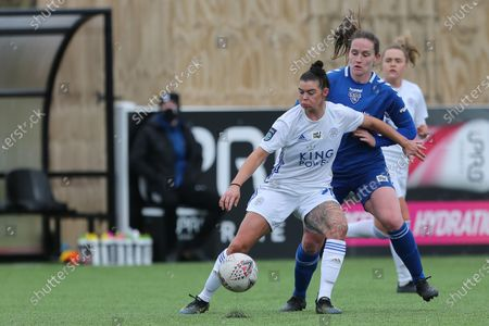 Stock Picture of Natasha FLINT of Leicester City battles with Durham Women's Sarah Robson   during the FA Women's Championship match between Durham Women FC and Leicester City at Maiden Castle, Durham City, England on 14th March 2021.