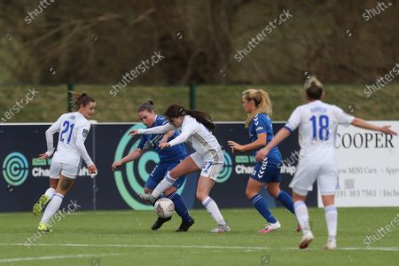 Shannon O'BRIEN of Leicester City battles with Durham Women's Sarah Wilson   during the FA Women's Championship match between Durham Women FC and Leicester City at Maiden Castle, Durham City, England on 14th March 2021.