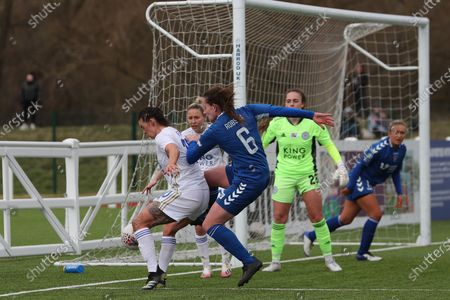 Stock Photo of Natasha FLINT of Leicester City holds off Durham Women's Sarah Robson   during the FA Women's Championship match between Durham Women FC and Leicester City at Maiden Castle, Durham City, England on 14th March 2021.