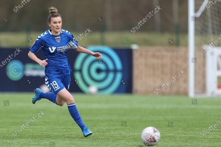 Stock Photo of Danielle Brown  of Durham Women  during the FA Women's Championship match between Durham Women FC and Leicester City at Maiden Castle, Durham City, England on 14th March 2021.