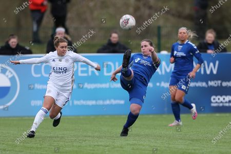 Sarah Wilson of Durham Women in action with Leicester City's Charlie DEVLIN  during the FA Women's Championship match between Durham Women FC and Leicester City at Maiden Castle, Durham City, England on 14th March 2021.