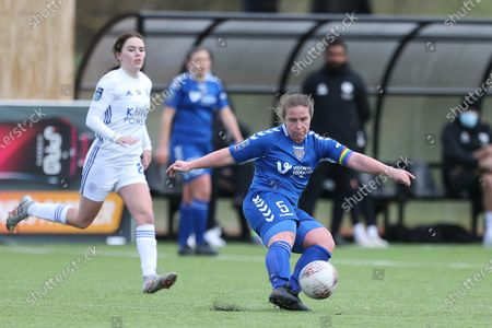 Sarah Wilson of Durham Women   during the FA Women's Championship match between Durham Women FC and Leicester City at Maiden Castle, Durham City, England on 14th March 2021.