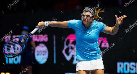 Kirsten Flipkens of Belgium in action during the first round of the 2021 St. Petersburg Ladies Trophy WTA 1000 tournament