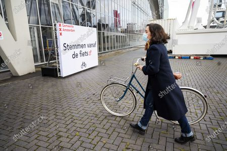 Mayor of Amsterdam Femke Halsema visits the car and bicycle voting street in RAI Amsterdam in Amsterdam, The Netherlands, 15 March 2021. Voters are given three days to vote this year due to the coronavirus COVID-19 restrictions.