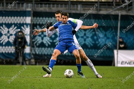 Midfielder Carlos de Pena (front) of FC Dynamo Kyiv and defender Vitalii Vernydub of FC Zorya Luhansk are seen in action during the 2020/2021 Ukrainian Premier League Matchday 18 game at the Slavutych Arena, Zaporizhzhia, southeastern Ukraine.
