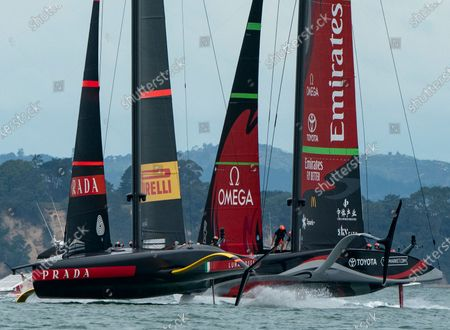 Defender's  Emirates Team New Zealand (ETNZ), skippered by Peter Burling on Te Rehutai and Italian challengers Luna Rossa Prada Pirelli, co-helmed by Jimmy Spithill and Francesco Bruni on Luna Rossa, during Day 6, Race 9, of the 36th America's Cup.