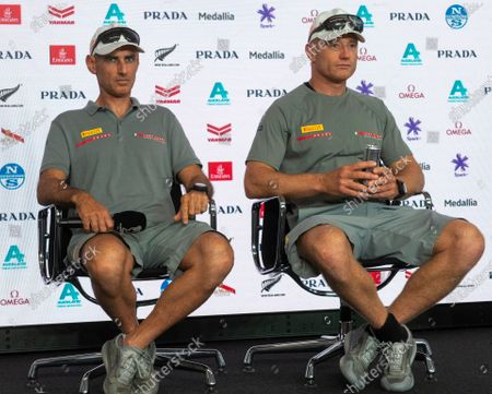 Stock Image of Press conference after Day 6 of the 36th America's Cup.Luna Rossa Prada Perelli co-helmsmen Jimmy Spithill and Francesco Bruni (left) attend the press conference after Emirates Team New Zealand won the only race of the day to lead the series 6-3.