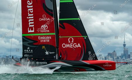 Stock Picture of Italian challengers Luna Rossa Prada Pirelli, co-helmed by Jimmy Spithill and Francesco Bruni on Luna Rossa, during Day 6, Race 9, of the 36th America's Cup.