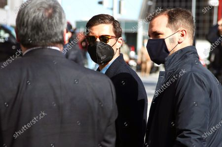 Stock Image of Former Spanish midfielder Xabi Alonso (C) wears a protective face mask as he arrives to the Court of Madrid, Spain, 15 March 2021, to testify in his case of alleged tax evasion to the Spanish Treasury.
