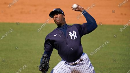 New York Yankees relief pitcher Aroldis Chapman delivers during the fifth inning of a spring training exhibition baseball game against the Pittsburgh Pirates in Tampa, Fla