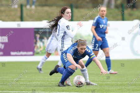 Sarah Wilson (#5 Durham) is fouled by Natasha Flint (#20 Leicester City)