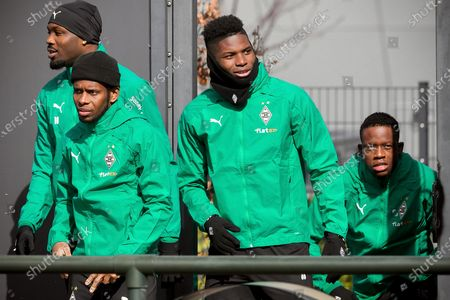 Moenchengladbach players (L-R) Marcus Thuram, Ibrahima Traore, Breel Embolo, and Denis Zakaria arrive for their team's training session at the Borussia-Park training ground in Moenchengladbach, Germany, 15 March 2021. Borussia Moenchengladbach will face Manchester City in their UEFA Champions League round of 16, second leg soccer match on 16 March 2021.