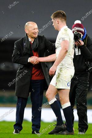 Owen Farrell of England and Eddie Jones head coach of England