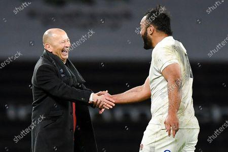 Billy Vunipola of England and Eddie Jones head coach of England
