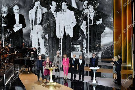 The Splendid Troop : (L to R) Michel Blanc, Josiane Balasko, Thierry Lhermitte, Marie-Anne Chazel, GZrard Jugnot, Christian Clavier and Bruno Moynot receive the Honorary Cesar award during the 46th Cesar Film Awards Ceremony