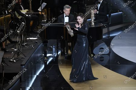 Laure Calamy receives the Best Actress Cesar award for the movie 'Antoinette dans les Cevennes' during the 46th Cesar Film Awards Ceremony At L'Olympia on March 12, 2021 in Paris, France.