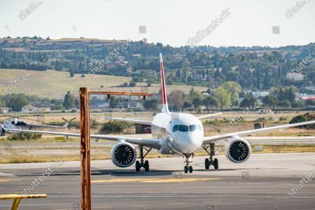 Editorial image of Swiss International Air Lines Airbus A220-100 In Greece, Thessaloniki - 12 Oct 2020