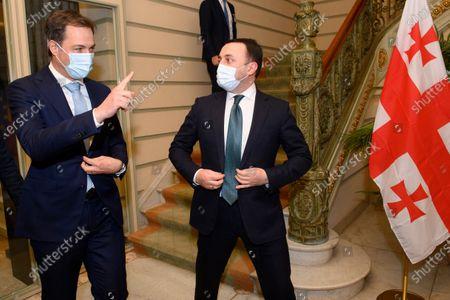Belgium Prime Minister Alexander De Croo (L) welcomes Georgian Prime Minister Irakli Garibashvili prior to a meeting in Brussels, Belgium, 15 March 2021.