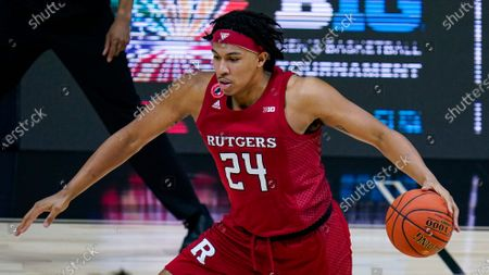 Rutgers guard Ron Harper Jr. (24) plays against Illinois in the first half of an NCAA college basketball game at the Big Ten Conference tournament in Indianapolis