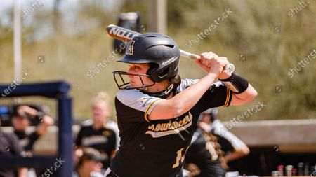 Stock Picture of Mary Pierce Barnes of Appalachian State is up to bat against South Alabama during an NCAA softball game, in Mobile, Ala