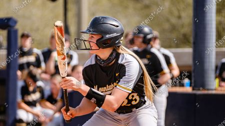 Emma Jones of Appalachia State is up to bat against South Alabama during an NCAA softball game, in Mobile, Ala