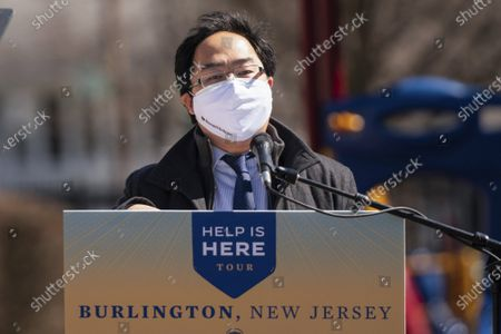 Stock Image of Rep. Andy Kim, D-N.J., speaks at a playground outside of the Samuel Smith Elementary School in Burlington, N,J.,, ahead of first lady Jill Biden