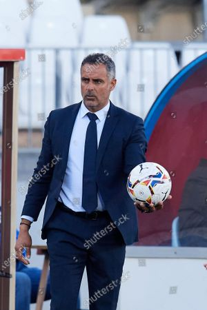 Jose Gomes of Almeria with the ball during the La Liga Smartbank match between UD Almeria and UD Las Palmas at Estadio Juegos del Mediterraneo on February 14, 2021 in Almeria, Spain. Sporting stadiums around Spain remain under strict restrictions due to the Coronavirus Pandemic as Government social distancing laws prohibit fans inside venues resulting in games being played behind closed doors.
