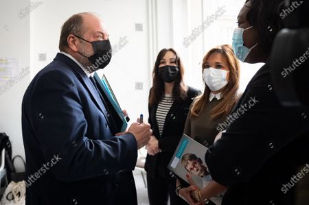 Eric DuPont Moretti, Minister of Justice, Keeper of the Seals and Adrien Taquet, Secretary of State in charge of Children and Families, during the visit of the CVM association, Victimology Center for Minors, at the hospital of the Hotel Dieu.