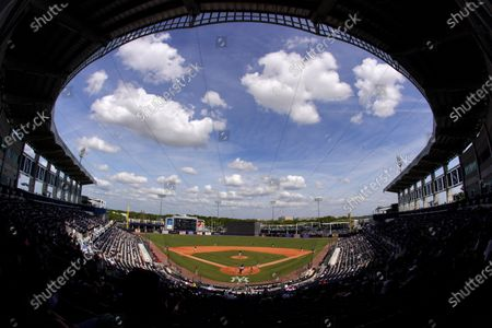 Socially distanced fans watch a spring training exhibition baseball game between the Philadelphia Phillies and the New York Yankees at George M. Steinbrenner Field in Tampa, Fla