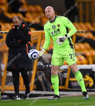 Wolverhampton Wanderers' replacement goalkeeper John Ruddy warm-up during the English Premier League soccer match between Wolverhampton Wanderers and Liverpool at Molineux Stadium in Wolverhampton, England