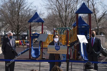 Rep. Andy Kim, D-N.J., speaks at a playground outside of the Samuel Smith Elementary School in Burlington, N,J.,, ahead of first lady Jill Biden