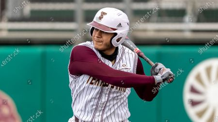 Texas State designated hitter Jose Gonzalez waits for the Houston pitch during an NCAA baseball game, in San Marcos, Texas