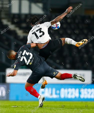 Colin Kazim-Richards of Derby County and Winston Reid of Brentford