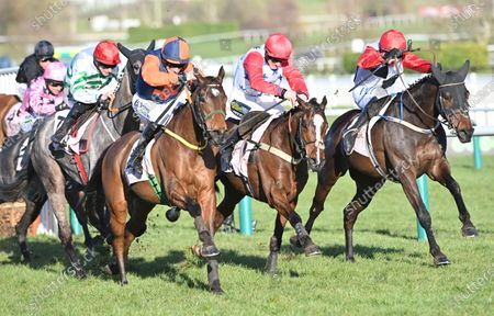 (L) Jeff Kidder (Sean Flanagan) takes the last before going on to win The Boodles Juvenile Handicap Hurdle Race from (C) Sage Advice (Sam Twiston-Davies) and (R) Saint Sam (P.Townend).Photo © Hugh Routledge.