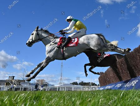 Vintage Clouds (Ryan Mania) takes the last before going on to win The Ultima Handicap Steeple Chase.Photo © Hugh Routledge.