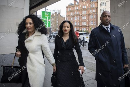 MP Claudia Webbe(Centre) arrives at Westminster Magistrates Court .She is charged with one count of harassment and the trial is expected to last for one day.