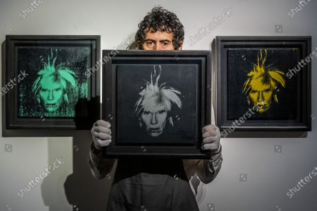 Andy Warhol, Three Self-Portraits, Executed in 1986, Estimate: £1,200,000-1,800,000 - Behind closed doors: preparations take place at christie's ahead of the livestreamed 20th century art evening sale and the art of the surreal sale on 23 march