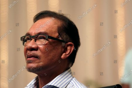 Stock Image of Malaysian opposition leader Anwar Ibrahim speaks at a press conference in Kuala Lumpur, Malaysia, 16 March 2021.