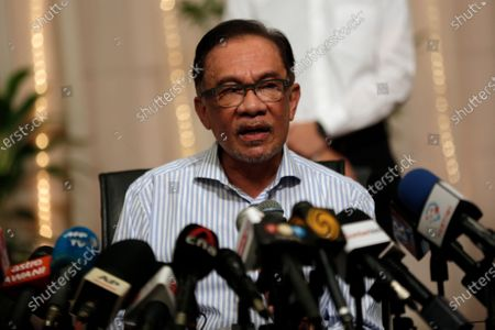 Malaysian opposition leader Anwar Ibrahim speaks at a press conference in Kuala Lumpur, Malaysia, 16 March 2021.