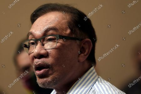 Stock Photo of Malaysian opposition leader Anwar Ibrahim speaks at a press conference in Kuala Lumpur, Malaysia, 16 March 2021.