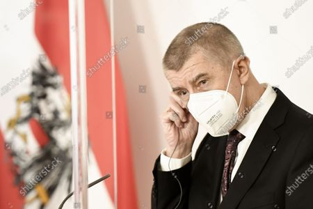 Czech Prime Minister Andrej Babis wears a face protective mask during a press conference following a working meeting of Austrian Chancellor Sebastian Kurz and the Prime Ministers of Bulgaria, Czech Republic, Latvia, Slovenia and Croatia on the Covid-19 vaccine distribution in the EU at the Austrian Chancellery in Vienna, Austria, 16 March 2021. Latvian Prime Minister Arturs Krisjanis Karins and Croatia's Prime Minister Andrej Plenkovic (both not pictured) participate in the working meeting via video conference.
