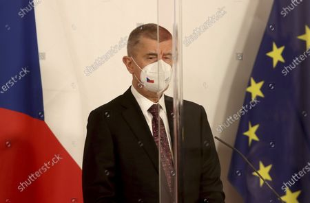 Czech Prime Minister Andrej Babis with face mask listen to Slovenia's Prime Minister Janez Jansa, Bulgaria's Prime Minister Boyko Borissov and Austrian Chancellor Sebastian Kurz behind plexiglass shields during a joint press conference at the federal chancellery in Vienna, Austria