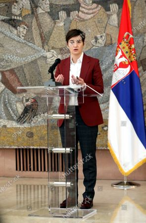 Prime Minister Ana Brnabic speaks about the coronavirus after the session of the crisis staff, today at the Palace of Serbia in Belgrade.