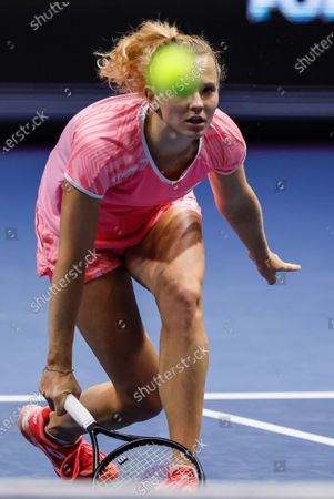Katerina Siniakova of Czech Republic during her WTA St. Petersburg Ladies Trophy 2021 tennis tournament first round match against Kirsten Flipkens of Belgium on March 16, 2021 at Sibur Arena in Saint Petersburg, Russia.