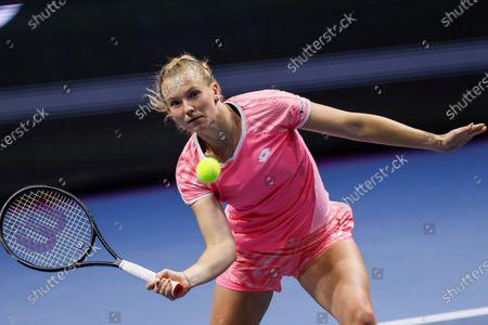 Katerina Siniakova of Czech Republic returns the ball to Kirsten Flipkens of Belgium during their WTA St. Petersburg Ladies Trophy 2021 tennis tournament first round match on March 16, 2021 at Sibur Arena in Saint Petersburg, Russia.