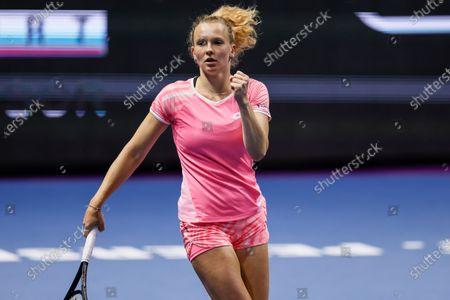 Katerina Siniakova of Czech Republic celebrates during her WTA St. Petersburg Ladies Trophy 2021 tennis tournament first round match against Kirsten Flipkens of Belgium on March 16, 2021 at Sibur Arena in Saint Petersburg, Russia.