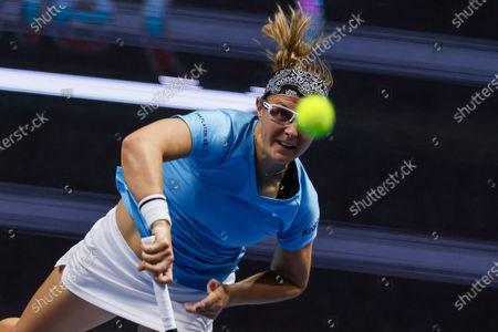 Kirsten Flipkens of Belgium serves the ball during her WTA St. Petersburg Ladies Trophy 2021 tennis tournament first round match against Katerina Siniakova of Czech Republic on March 16, 2021 at Sibur Arena in Saint Petersburg, Russia.